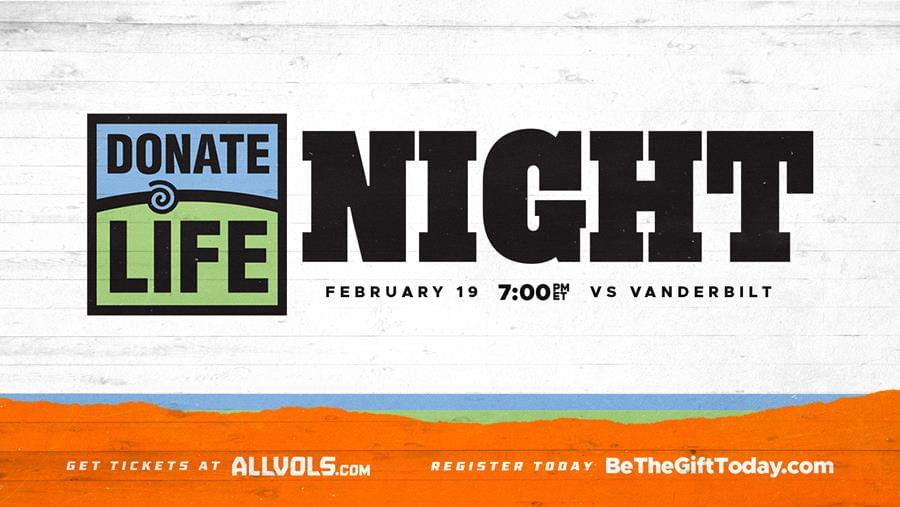Vols to Host Donate Life Night Tuesday at Thompson-Boling Arena
