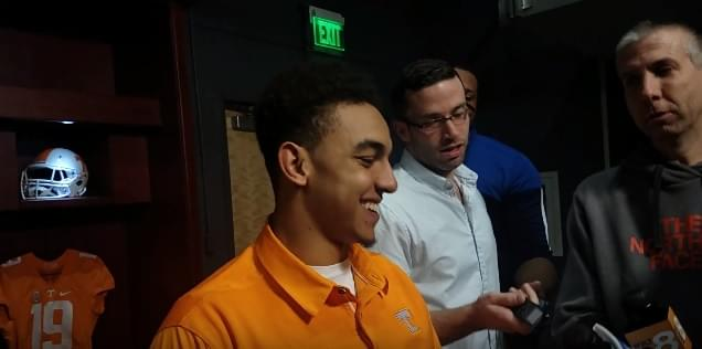 "Video: Jarrett Guarantano on Chaney ""I really enjoy having him around. He's a great dude, funny and he's definitely a great coach."""