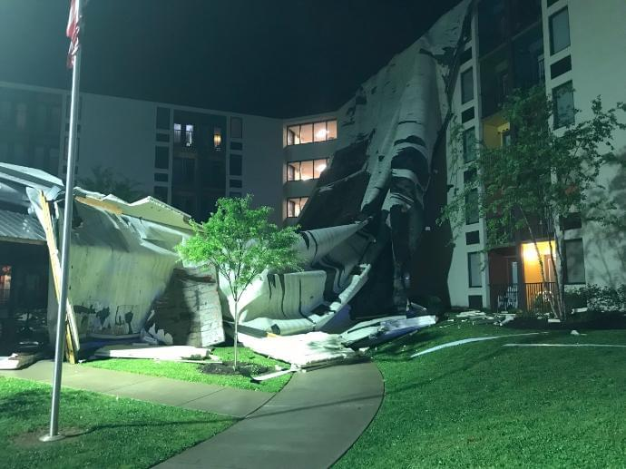 Rubber Roof Ripped Off Building Downtown