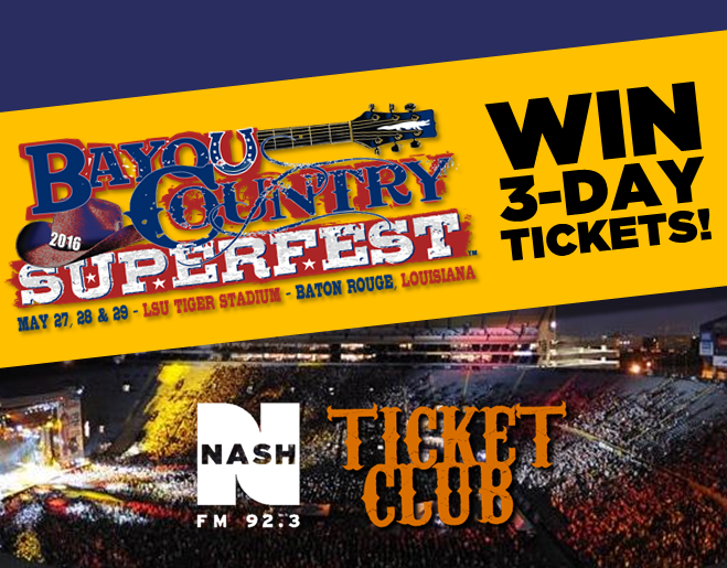 Win 3-day tickets to Bayou Country Superfest [ENDED – click to view winner list]
