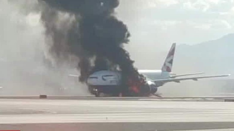 Plane catches fire on Las Vegas runway