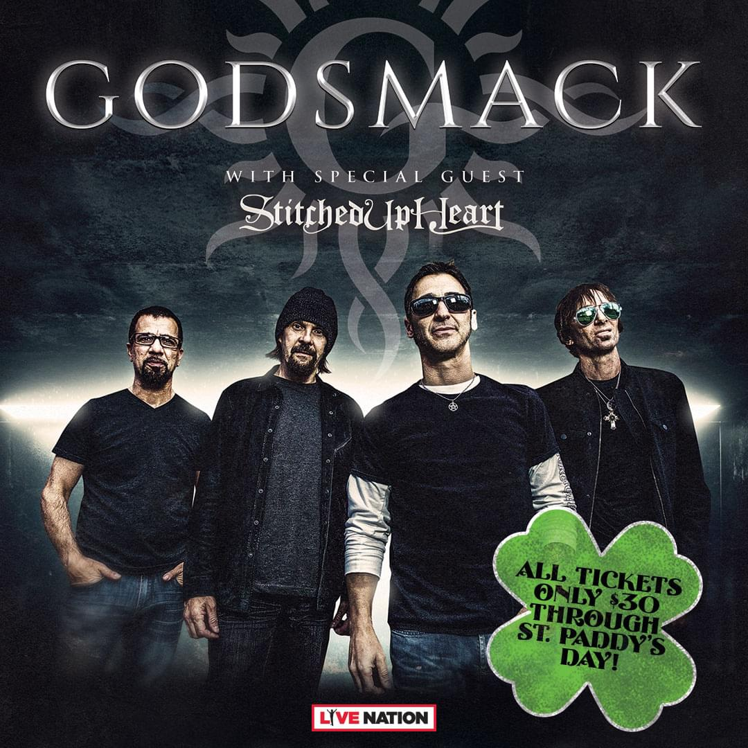 GODSMACK tickets on sale for $30 for special St. Patrick's Day Weekend Sale!