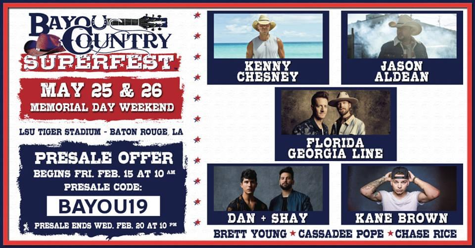 BAYOU COUNTRY SUPERFEST LINE UP ANNOUNCED!