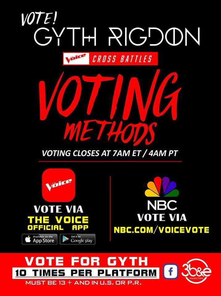 We Need Your Vote! Gyth Rigdon Cross Battles tonight on The Voice!