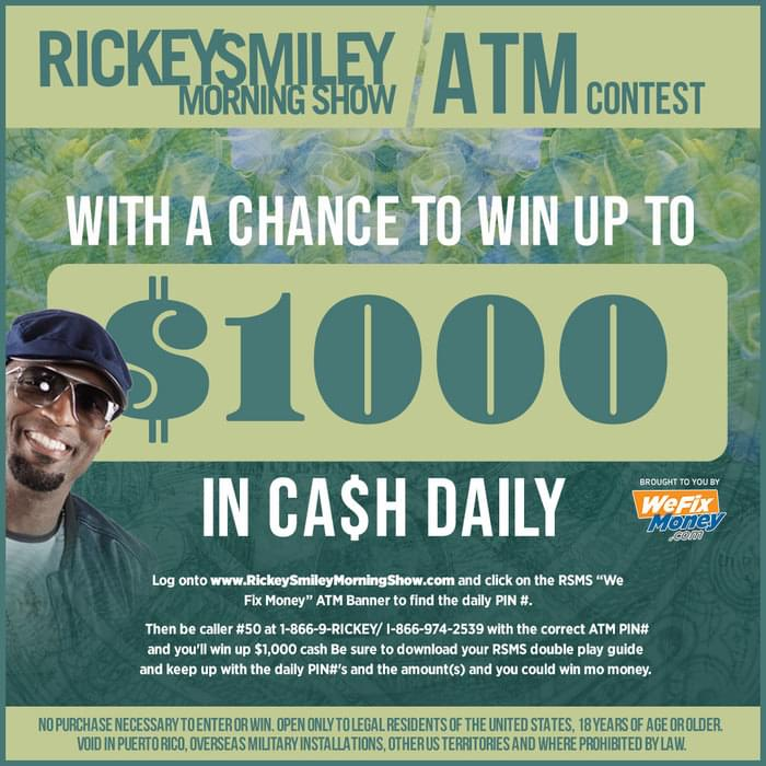 """The Return of the Rickey Smiley Morning Show """"ATM"""" CA$H promotion"""