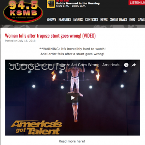 Woman falls after trapeze stunt goes wrong! (VIDEO)
