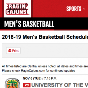 Ragin' Cajuns Men's Basketball schedule