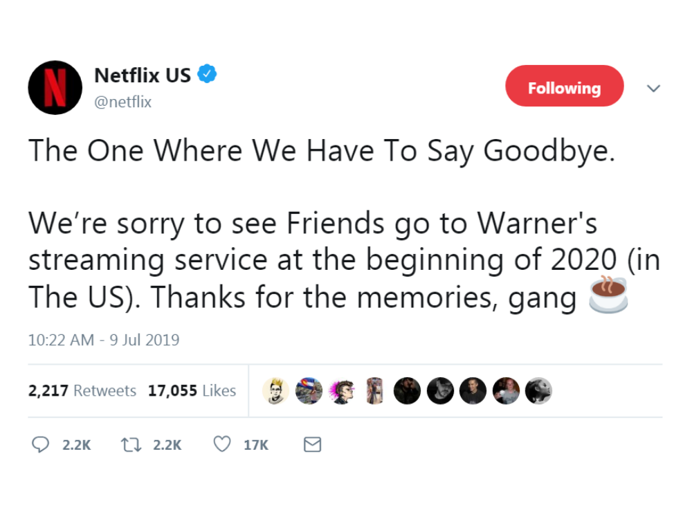 Friends Will Leave Netflix at the End of 2019