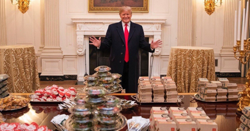 TRUMP LAYS OUT FAST FOOD SPREAD FOR NATIONAL CHAMPIONS #KSMS