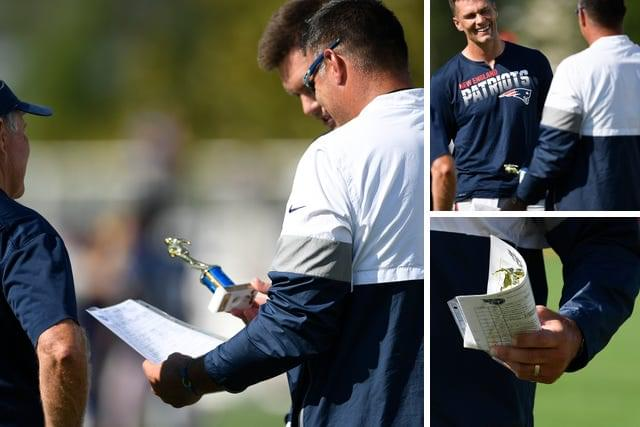 TOM BRADY GIVES MIKE VRABEL A GIFT AT PRACTICE