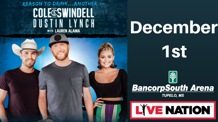 Cole Swindell and Dustin Lynch-December 1st at the BancorpSouth Arena