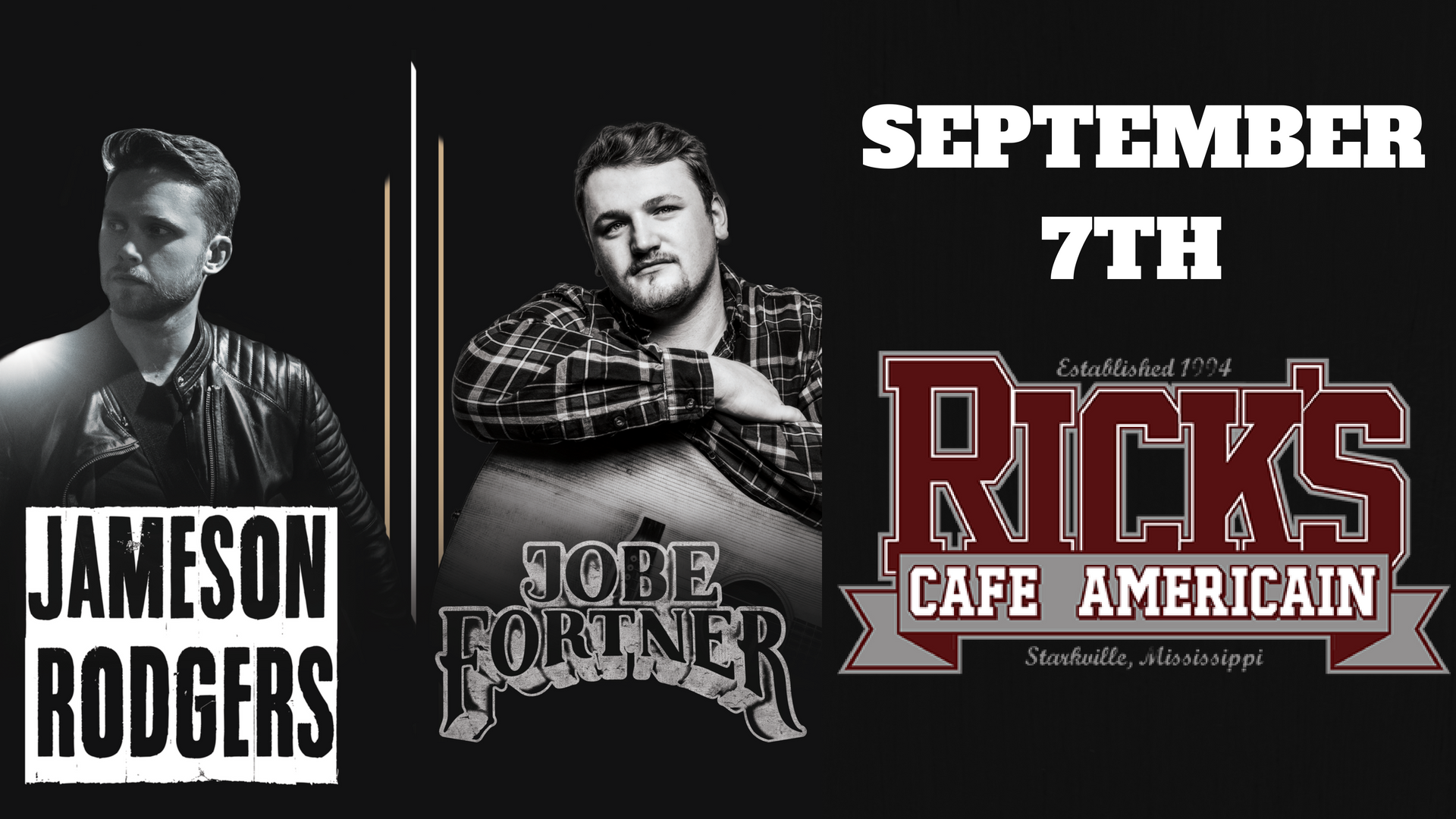 Jameson Rodgers at Rick's Cafe on September 7th!