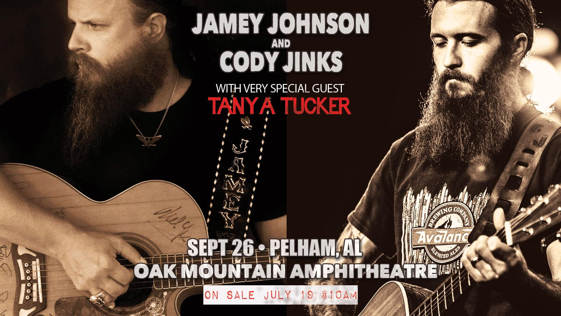 Jamey Johnson & Cody Jinks Oak Mountain Amphitheater September 26th