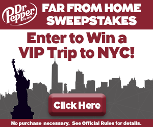 """Dr. Pepper """"Far From Home Sweepstakes"""""""