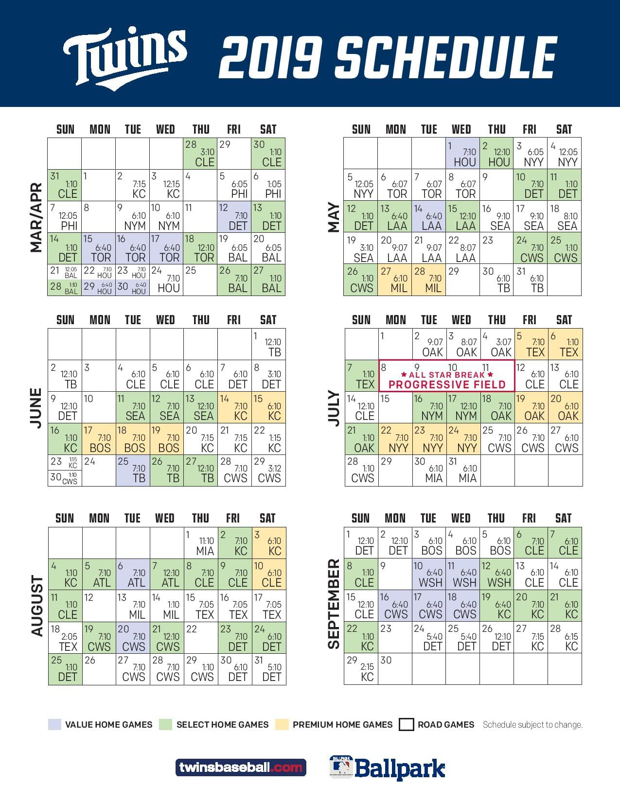 Insane image for minnesota twins printable schedule
