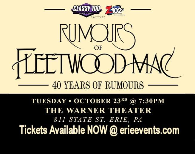 Rumours of Fleetwood Mac – Live at The Warner Theatre Tuesday October 23rd!