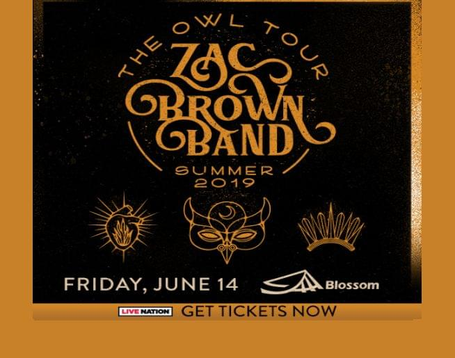 Zac Brown Band: The Owl Tour – at Blossom Music Center on Friday, June 14!