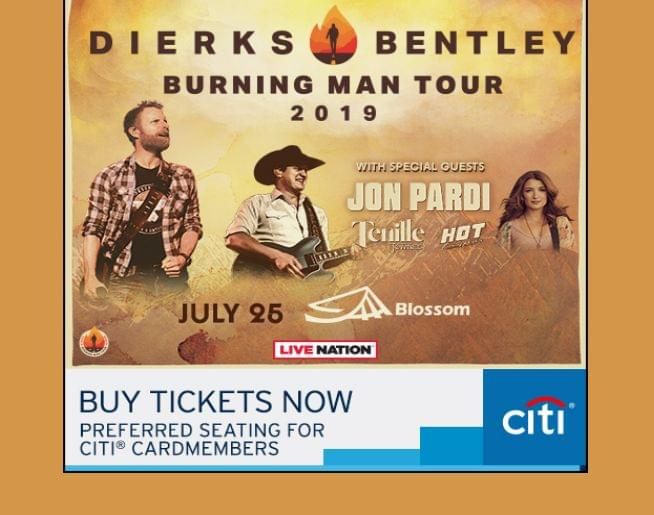 DIERKS BENTLEY w/ special guests JON PARDI, TENILLE TOWNES & HOT COUNTRY KNIGHTS – BLOSSOM MUSIC CENTER – JULY 25!