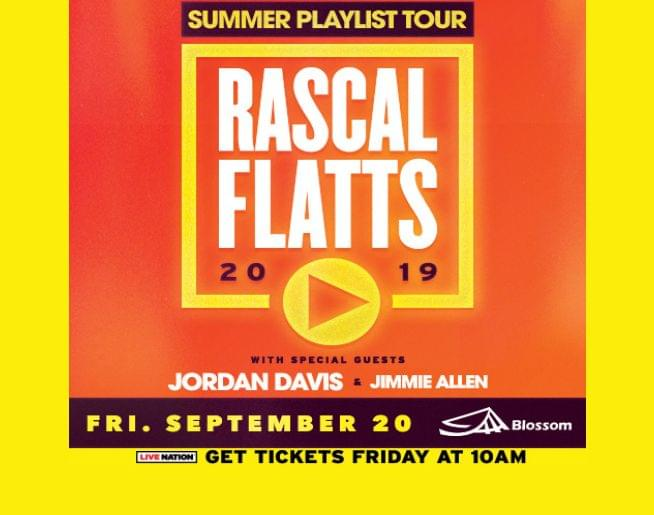 Rascal Flatts at Blossom Sept. 20! Tickets on sale Friday at 10a!