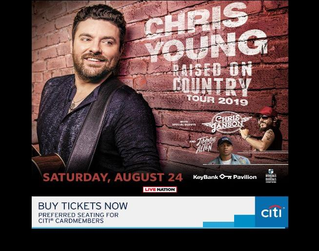 Chris Young – Raised on Country Tour, w/ Chris Janson & Jimmie Allen at KeyBank Pavilion Aug 24!