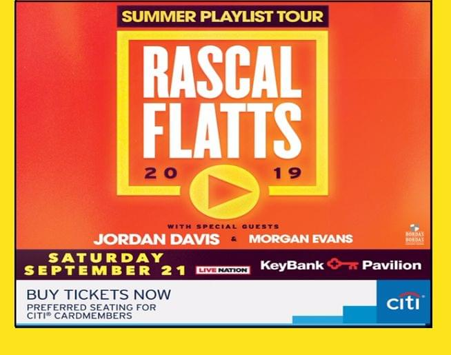Rascal Flatts at KeyBank Pavilion Sept. 21! Tickets on sale now!