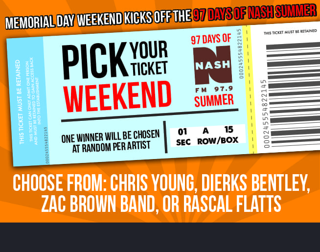 This Memorial Day Weekend is a Pick Your Ticket Weekend!