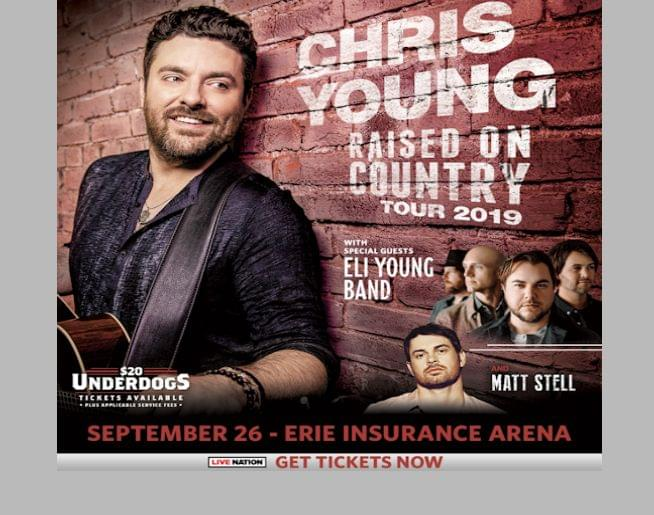 $20 Underdog tickets for Chris Young – Sept 26 at Erie Insurance Arena!