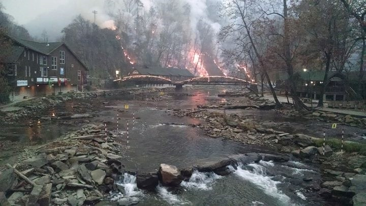 Iconic Nantahala walking bridge on fire – early last week