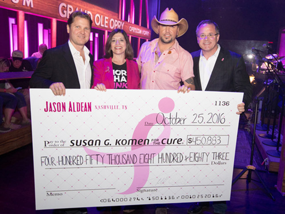 Jason Aldean's Concert for the Cure Helps Raise More Than $3.3 Million to Fight Breast Cancer as the Opry Goes Pink