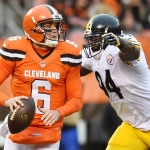 Nov 20, 2016; Cleveland, OH, USA; Cleveland Browns quarterback Cody Kessler (6) and Pittsburgh Steelers inside linebacker Lawrence Timmons (94) during the game at FirstEnergy Stadium. Mandatory Credit: Ken Blaze-USA TODAY Sports