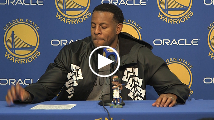 """Iguodala on Klay: """"We got a lot of stops in the third, so I noticed that he wasn't out there'"""