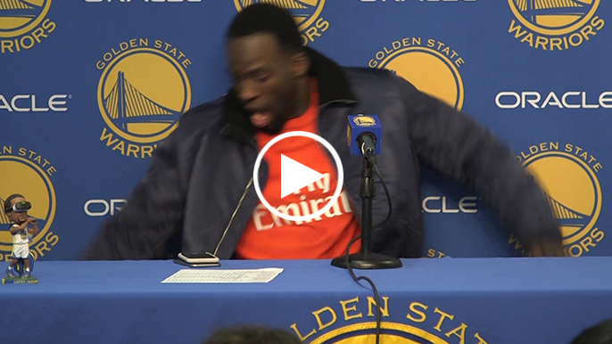 Draymond almost falls off podium in postgame conference