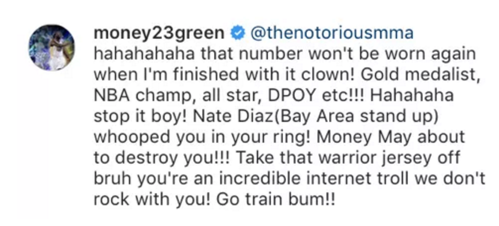 premium selection 8f4d2 7be3f Draymond Green trades barbs with Conor McGregor on Instagram ...