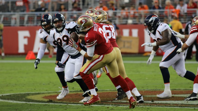 013cc9f7185 Four first half turnovers frustrate 49ers in loss to Broncos
