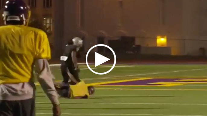 Marshawn Lynch goes beast mode on Oakland Tech football field during his suspension
