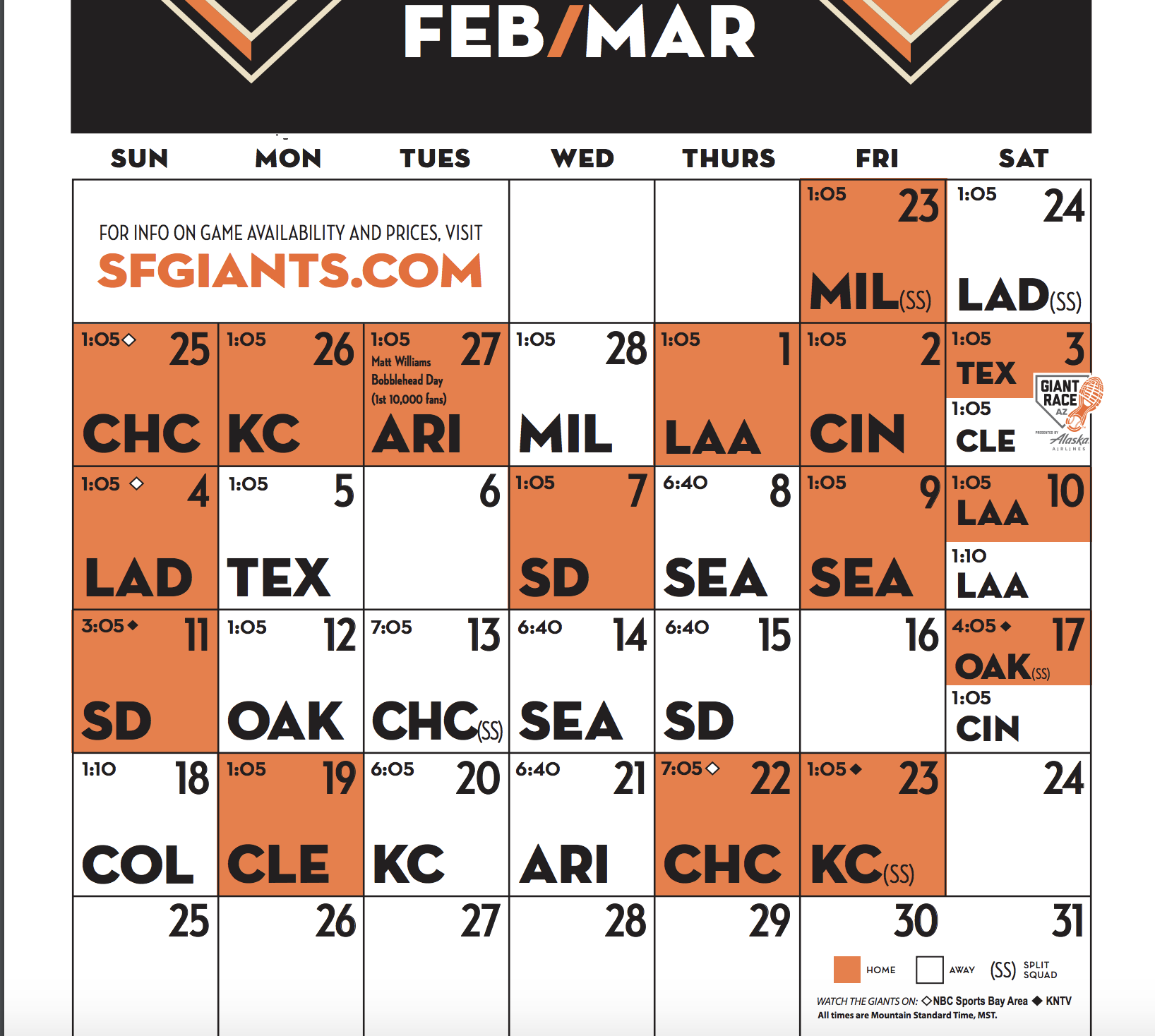 giants announce 2018 spring training schedule knbr am