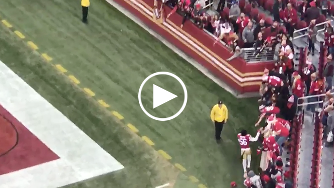 Reuben Foster runs entire loop around Levi's Stadium to offer high fives