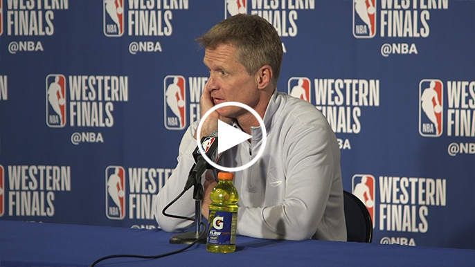 Steve Kerr gives his hypothesis for this year's NBA playoff blowouts