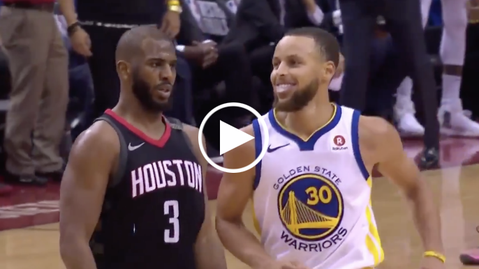 Chris Paul shimmies in front of Stephen Curry after hitting deep 3-pointer