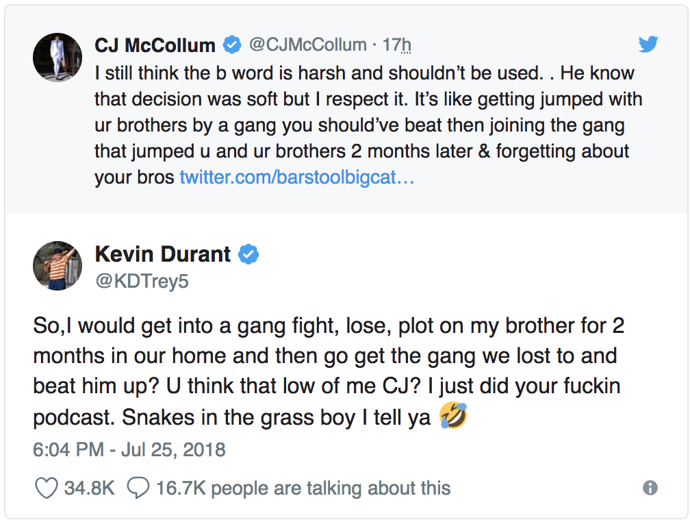 2ed9baa04bc8 Kevin Durant fires back after C.J. McCollum calls decision to join ...