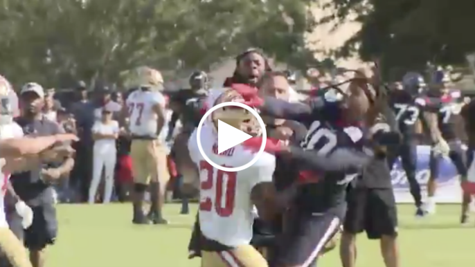 Jimmie Ward and DeAndre Hopkins trade punches during 49ers-Texans joint practice