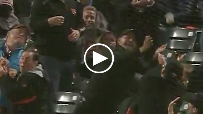 Foul ball off Rodriguez almost caught by HOF father in stands