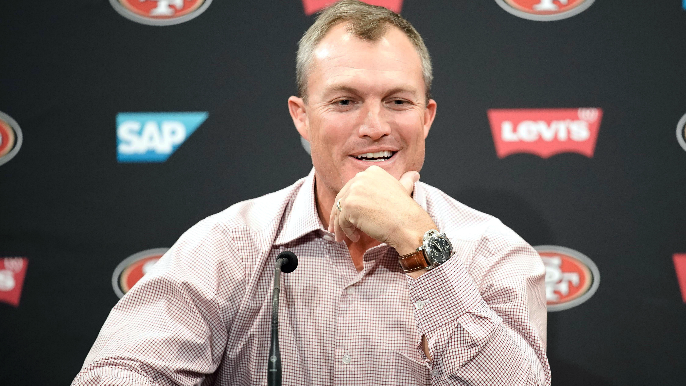 John Lynch says he laughed at headline involving Jimmy Garoppolo and adult film star