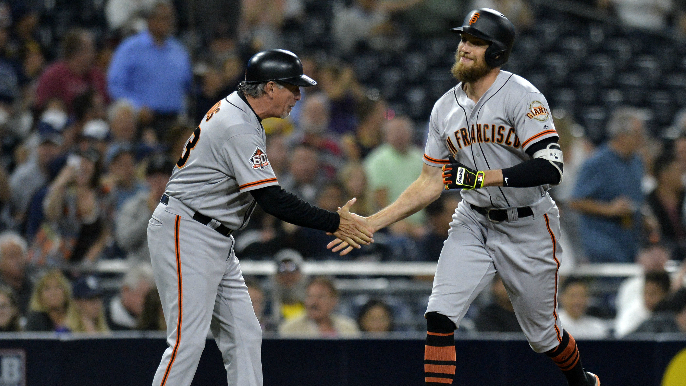 Pence, Shaw lead Giants to hectic win over Padres following controversial home run