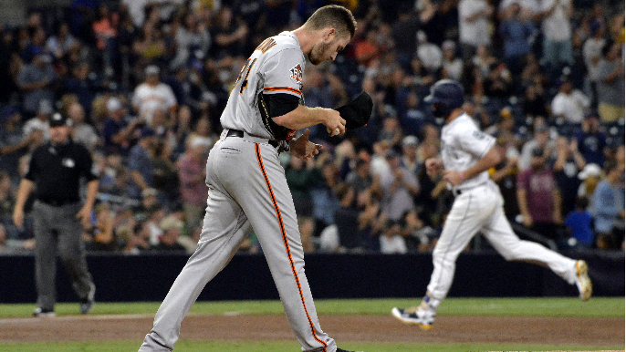 Stratton drives in three, gives up five as Giants lose to Padres