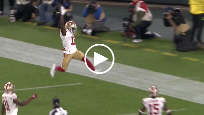 After shirtless warm-up, Marquise Goodwin explodes for two first-half TDs