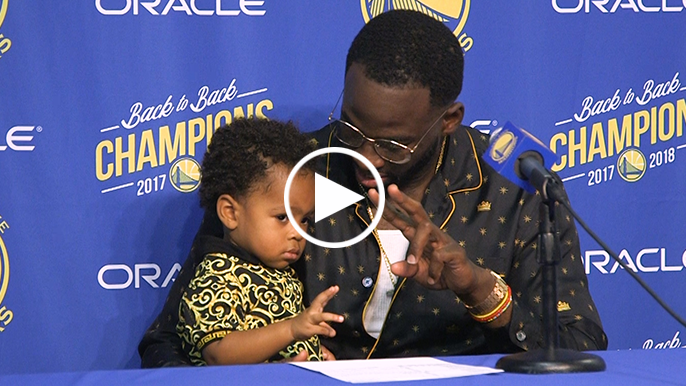 Draymond Jr. was chilling hard during dad's post game presser