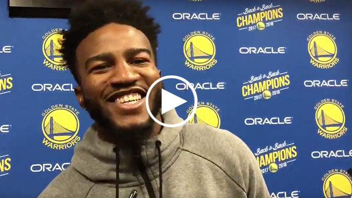 Jordan Bell explains interaction with Nets bench after hitting jumper