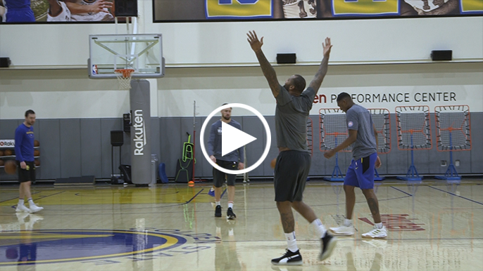DeMarcus Cousins wins 3-point shooting contest at Warriors practice facility