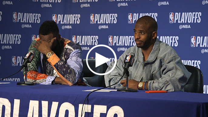 Chris Paul has back-and-forth with reporter when asked if he made contact with official